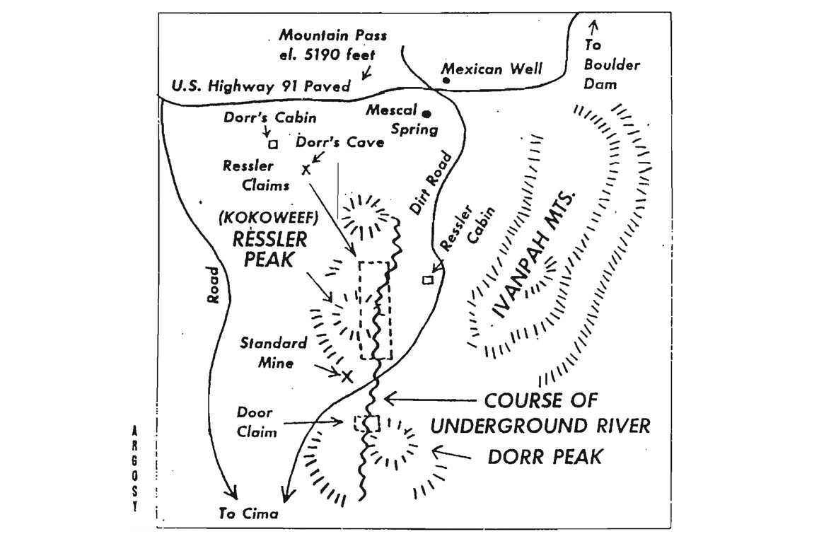 Ray Dorr's 1967 Argosy map showing Dorr's cave and cabin in the Mescal Range, about 5 miles north of Kokoweef Peak.