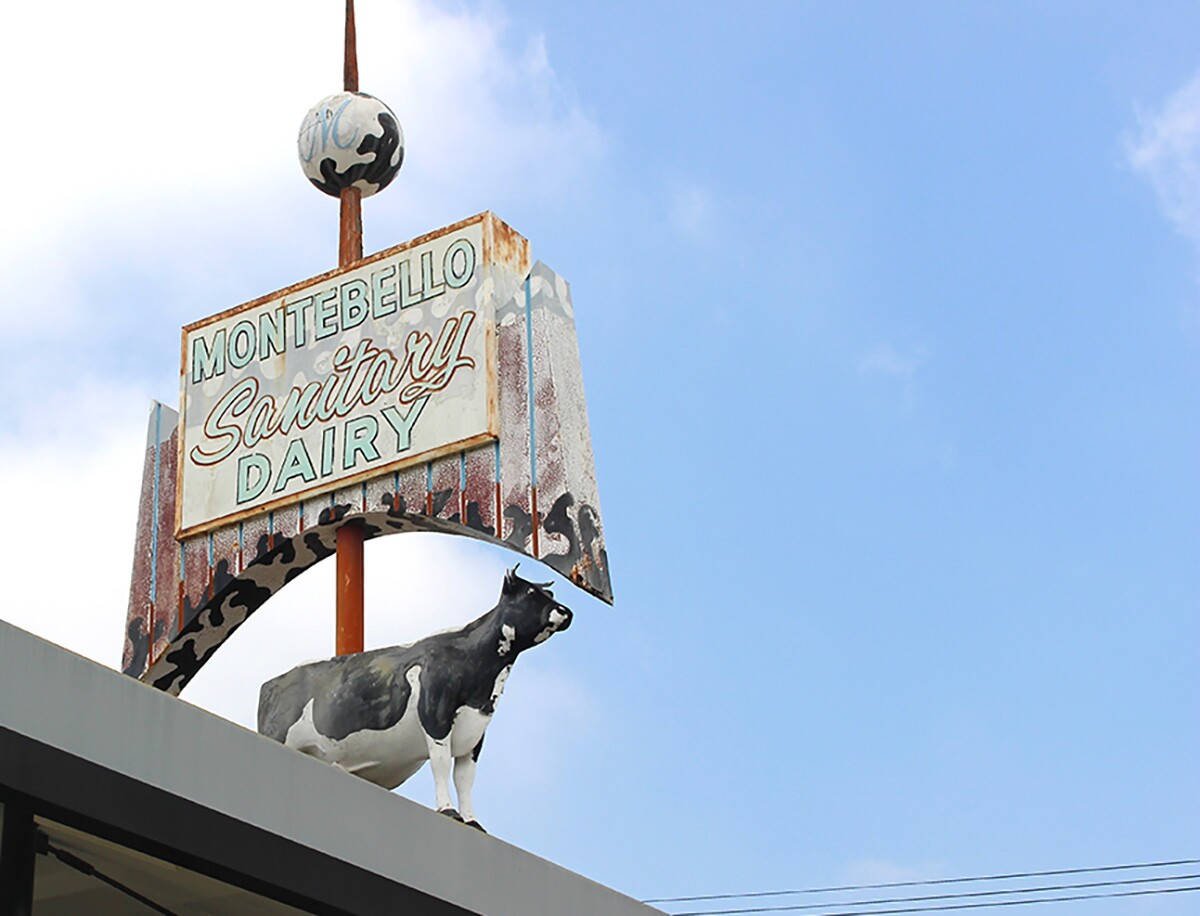 A piebald cow adorns the roof at Broguiere's | Courtesy of Jean Trinh