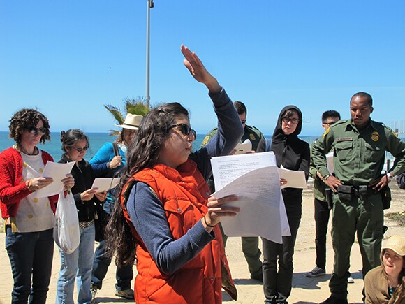 Celeste Menchaca presents a brief history on the patrolling the U.S.-Mexico border at Friendship Circle. | Photo: Jena Lee.