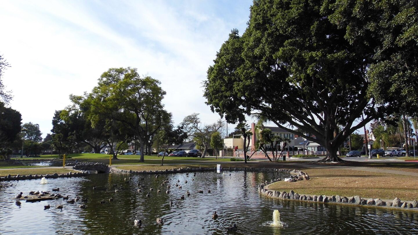 The Pearson Pond at Pearson Park in Anaheim, CA was part of the park's original design.