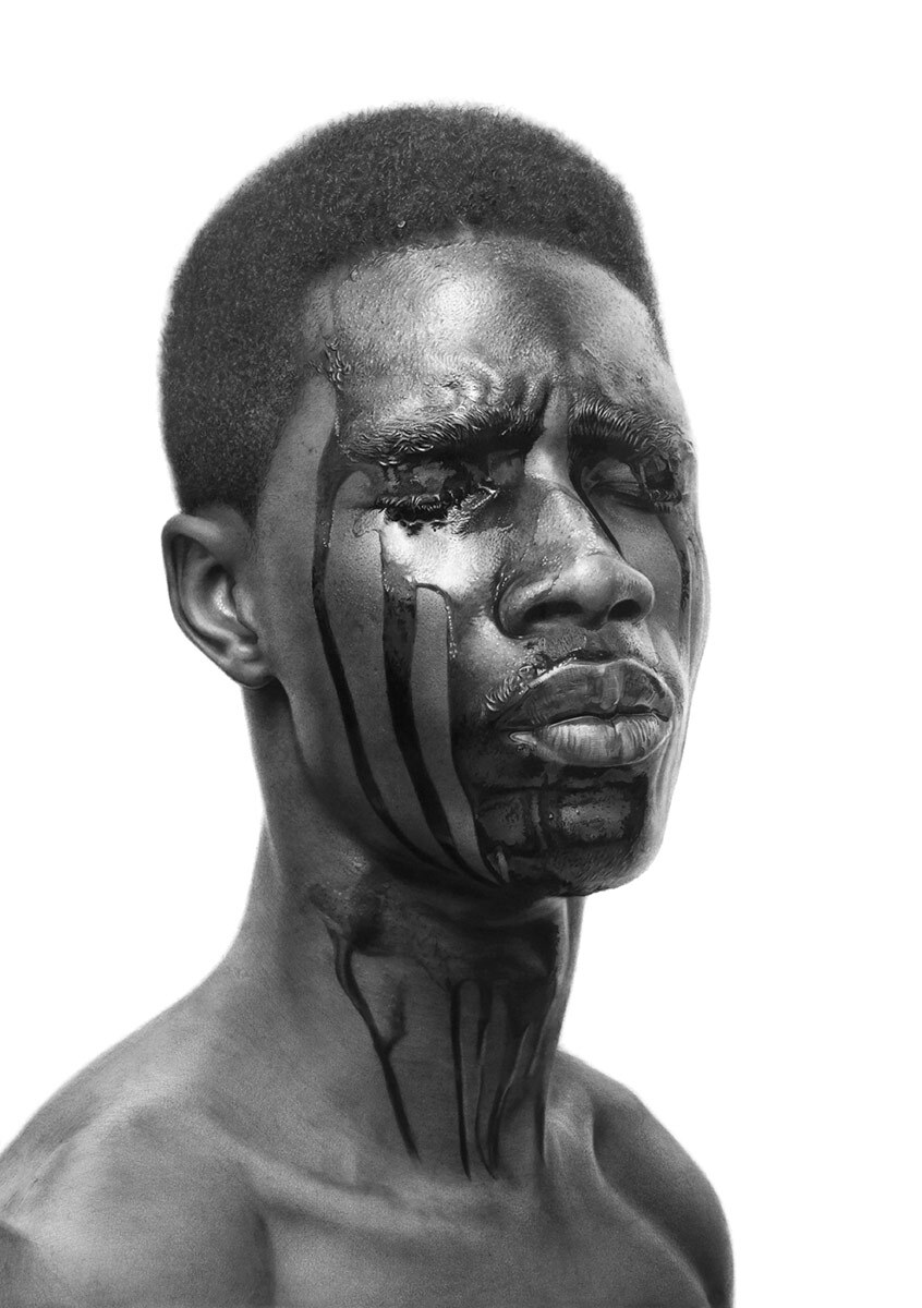 """The Machine Man #6"" by Arinze Stanley. Charcoal and graphite on paper, 29.3'' x 27.5.'' 
