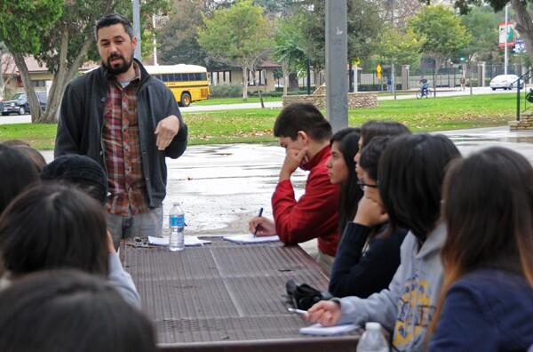 Romeo talks to the students