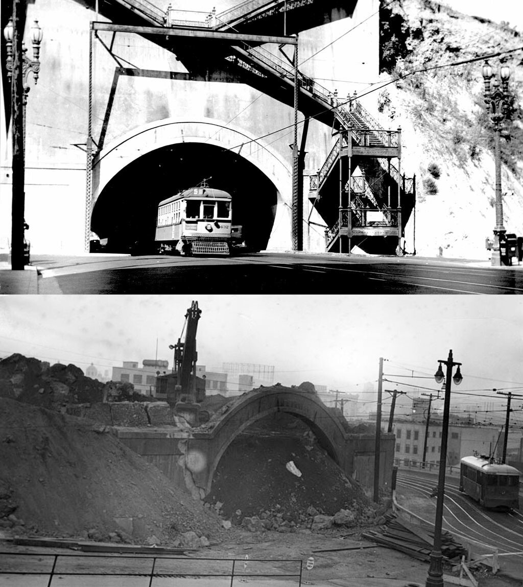 Before much of Fort Moore Hill was hauled away in 1949, the Broadway tunnel provided a shortcut directly through the hill. Top photo courtesy of the Metro Library. Bottom photo courtesy of the Herald-Examiner Collection - Los Angeles Public Library.