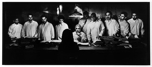 Shirin Neshat, <em>The Last Word</em>, 2003, Gelatin silver print, 38 x 95 inches (image), 40 x 97 inches (framed), Edition 3 of 5 Collection of Marsha and Darrel Anderson, ©Shirin Neshat | Courtesy Gladstone Gallery, New York and Brussels.