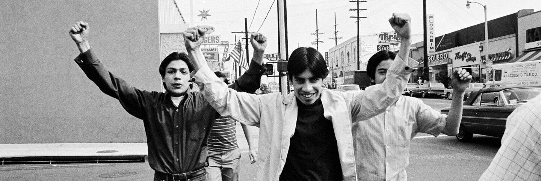 CSRC_LaRaza_B2F5C1_Staff_017 Protestors at the Roosevelt High School strike | La Raza photograph collection. Courtesy of UCLA Chicano Studies Research Center
