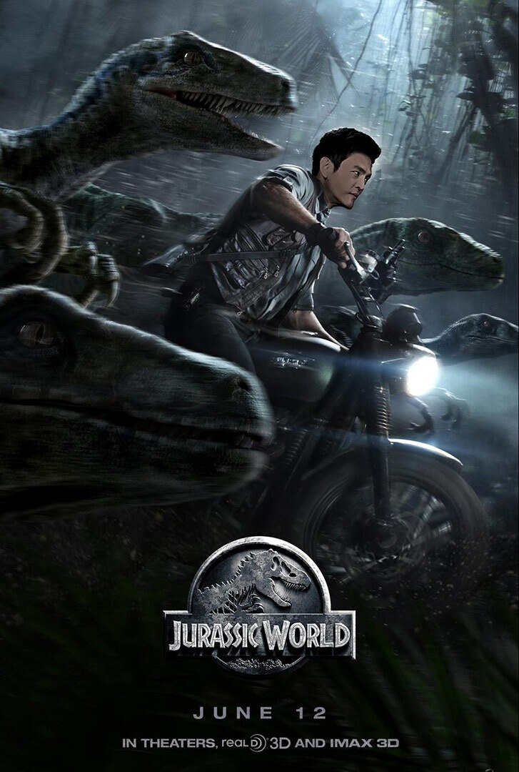Movie poster with a man on a motorcycle riding next to dinosaurs.