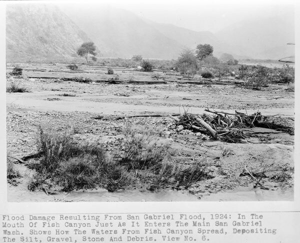 Aftermath of a 1924 debris flow in the San Gabriel Valley. Courtesy of the Title Insurance and Trust / C.C. Pierce Photography Collection, USC Libraries.