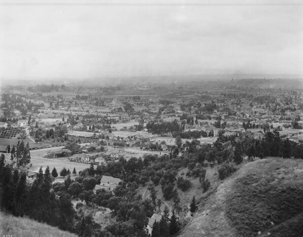 1910 view of East Los Angeles (the future Lincoln Heights), looking south from the highlands above the neighborhood. Courtesy of the Title Insurance and Trust / C.C. Pierce Photography Collection, USC Libraries.