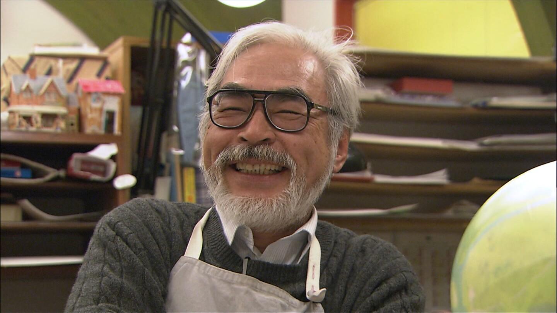 """Hayao Miyazaki laughs at something.   """"Hayao Miyazaki: 10 Years with the Master"""""""