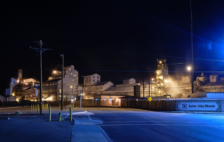 Night shot of Searles Valley Minerals Plant, Trona, Ca.   Osceola Refetoff