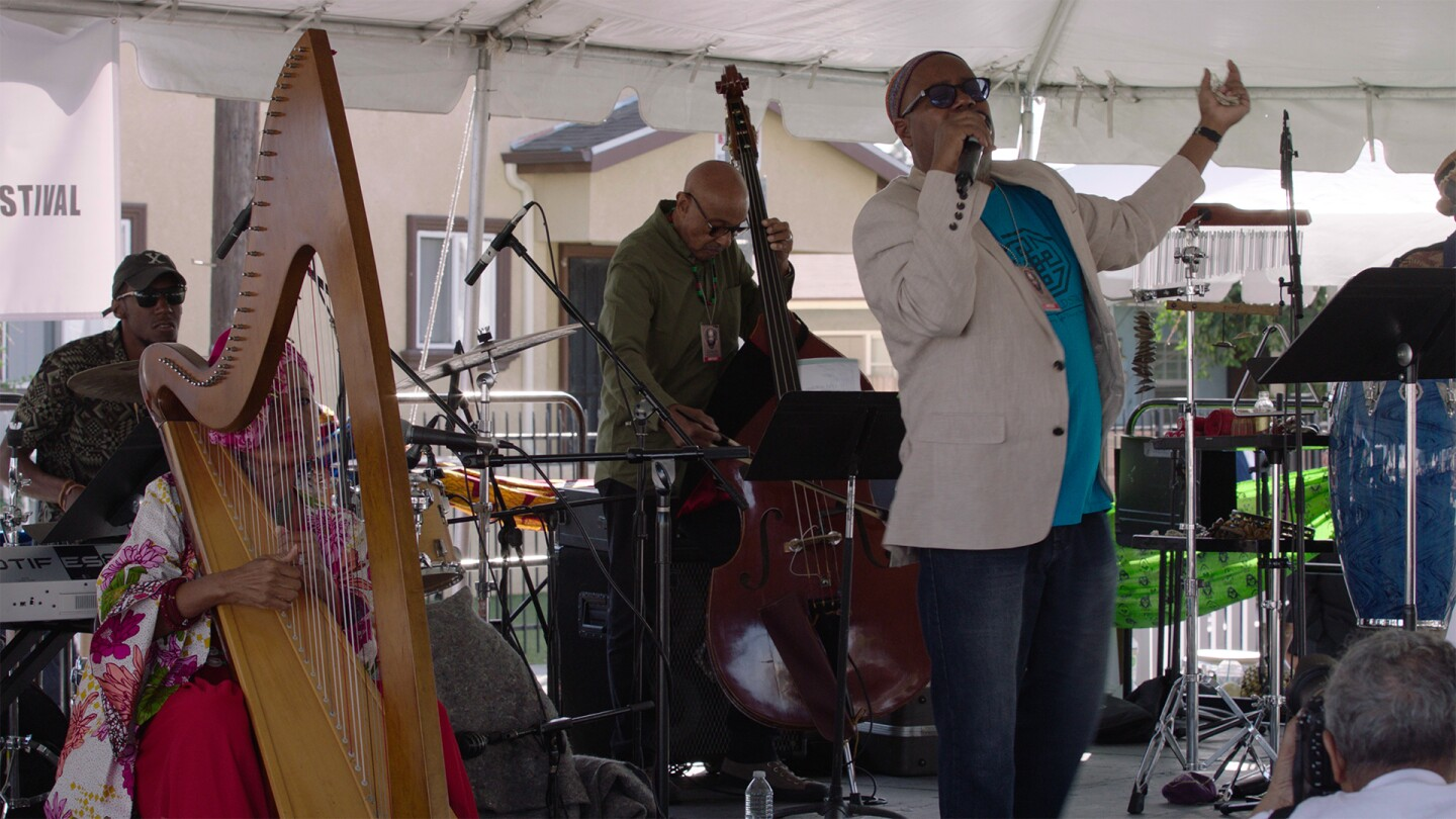 "Dwight Trible performing at the Watts Towers Festivals | Still from ""Southland Sessions"" Watts Towers Festivals sls ep11"