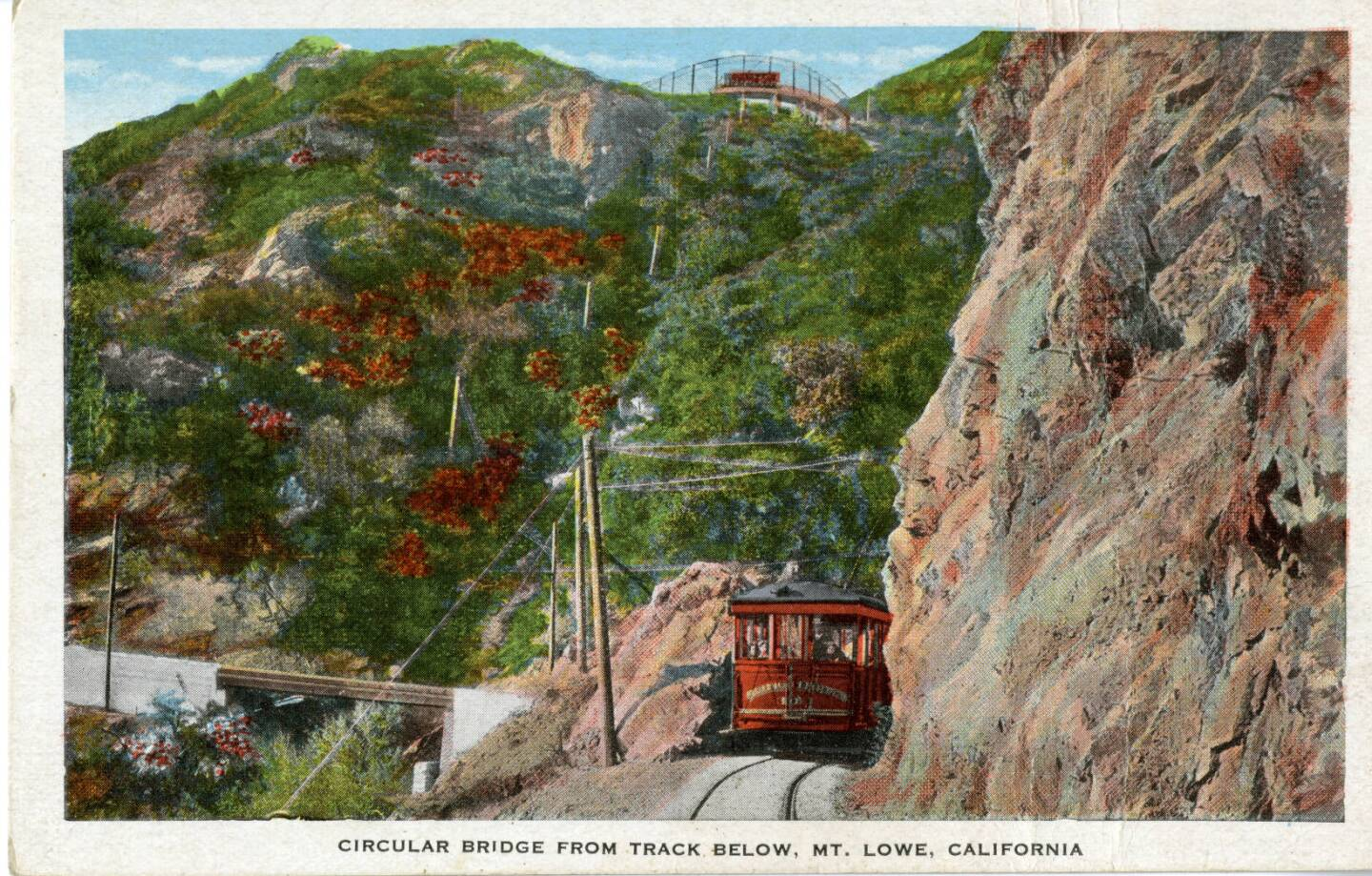 Postcard showing Circular Bridge from the tracks of the Mt. Lowe Railway below, circa 1920/30