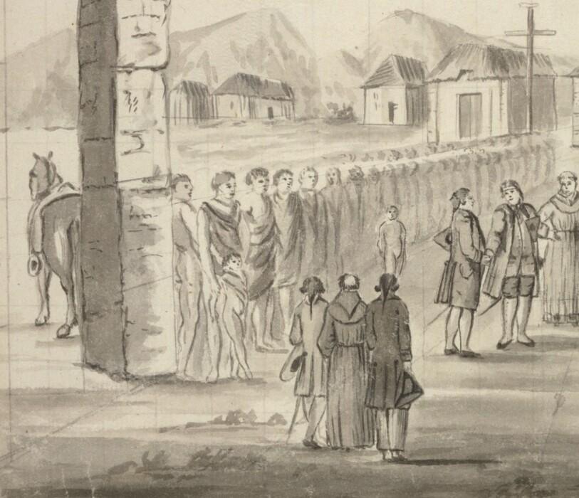The reception of Jean-Francois de la Pérouse at Mission Carmel in 1786, California.