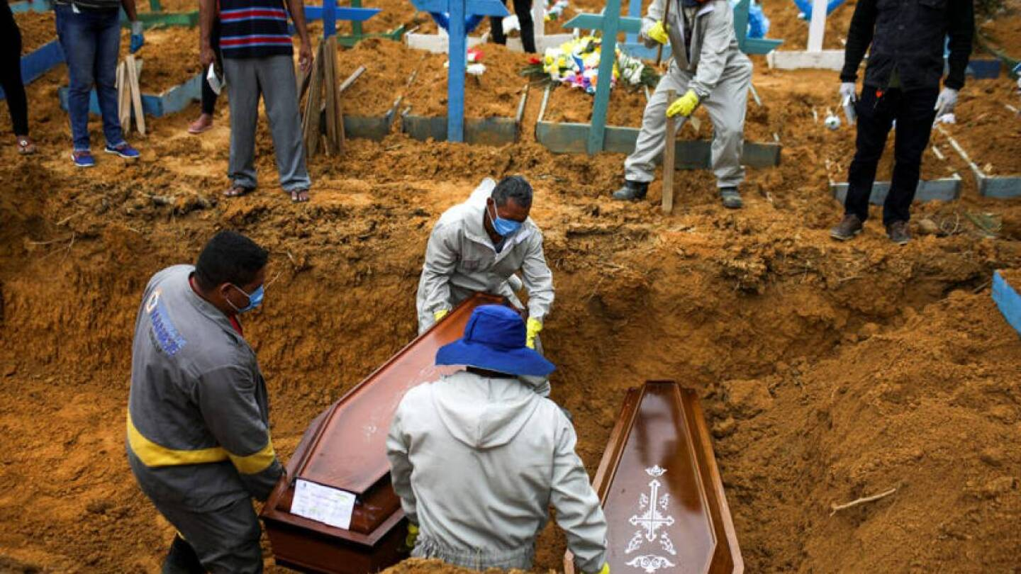 Gravediggers work during a mass burial of people who passed away due to the coronavirus disease (COVID-19), at the Parque Taruma cemetery in Manaus, Brazil May 13, 2020. | REUTERS/Bruno Kelly