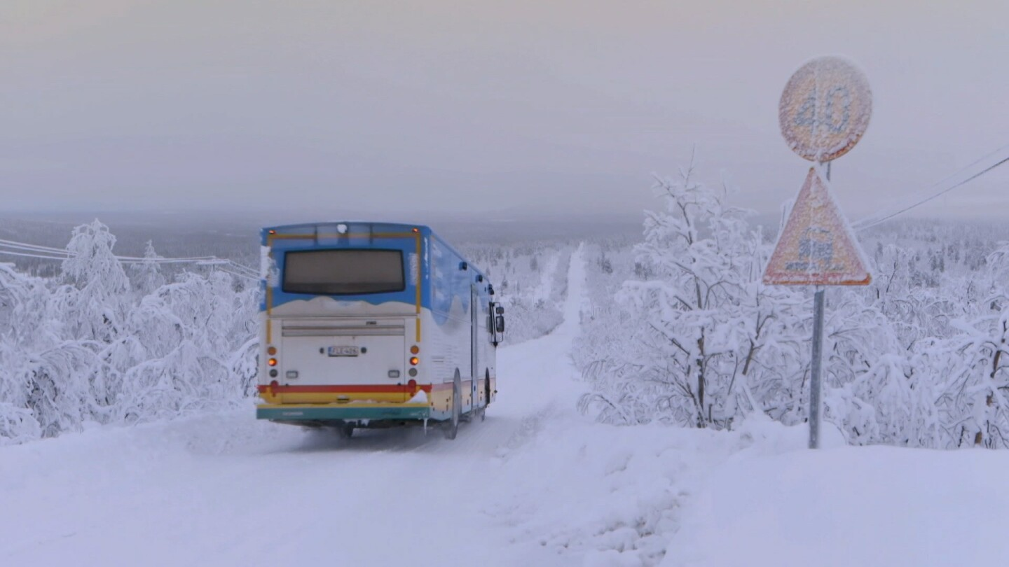 "A library on a bus in the middle of snowy terrain. | Still from ""Witness"" episode ""Reading North"""
