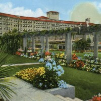 Undated color postcard of the Ambassador Hotel