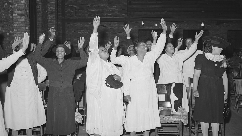 Members of the Pentecostal church praising the Lord.