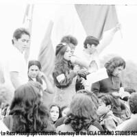 CSRC_LaRaza_B15F10C1_Staff_025 Protesters at Franklin D. Roosevelt Park rally | Maria Marquez Sanchez, La Raza photograph collection. Courtesy of UCLA Chicano Studies Research Center