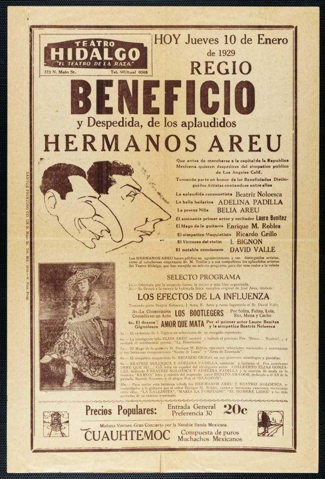 Broadside for Teatro Hidalgo, Los Angeles, by Santos Printing Company, Los Angeles, 1929 January 10 | University of Southern California Libraries, Workman and Temple Family Homestead Museum Collection, 1830-1930