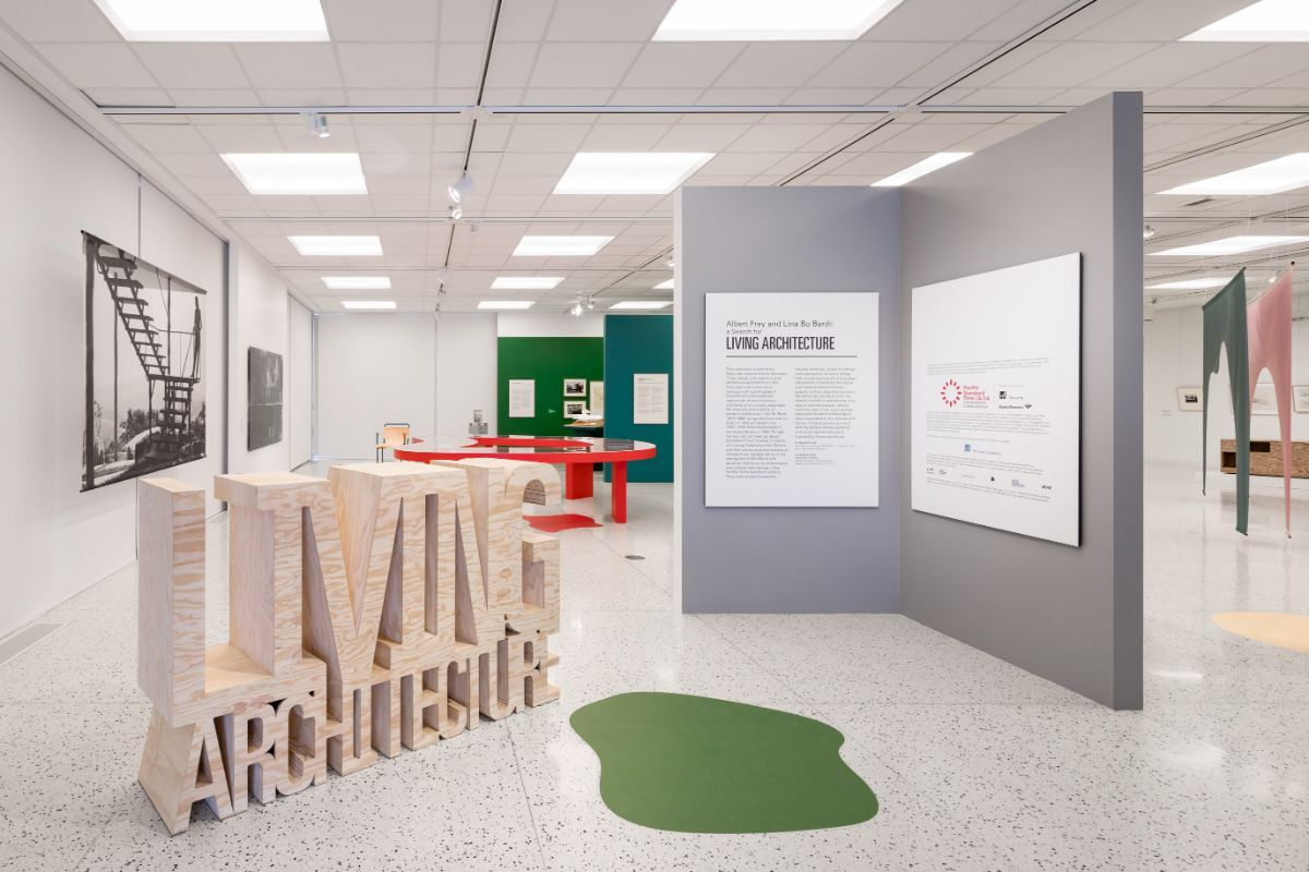 """Installation shot of """"Albert Frey and Lina Bo Bardi: A Search for Living Architecture"""" at Palm Springs Art Museum 