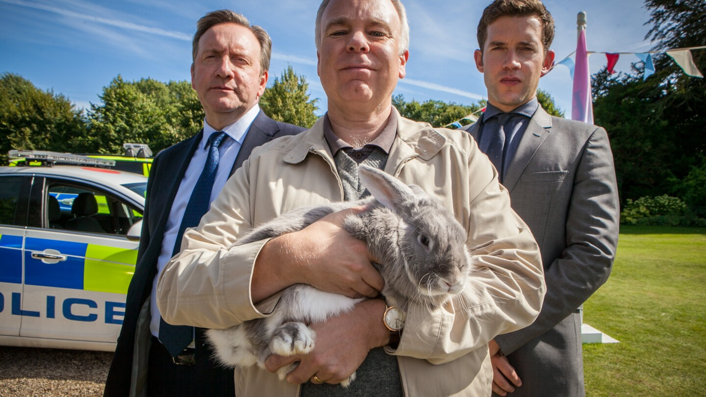 Three men and a rabbit look on.