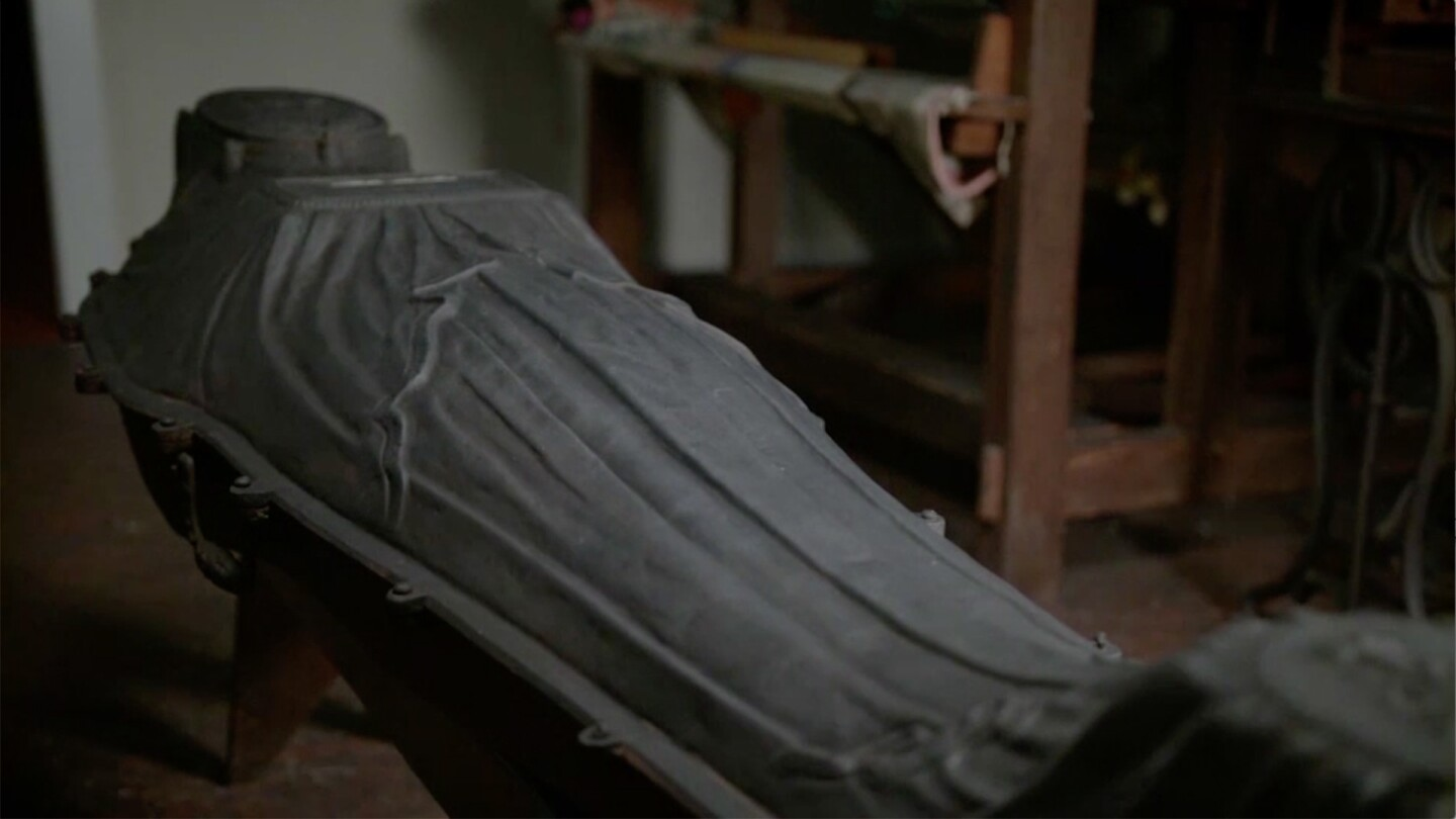 "An iron coffin that contains the remains of a young African American woman from 19th century New York. | From ""Secrets of the Dead: The Woman in the Iron Coffin"""