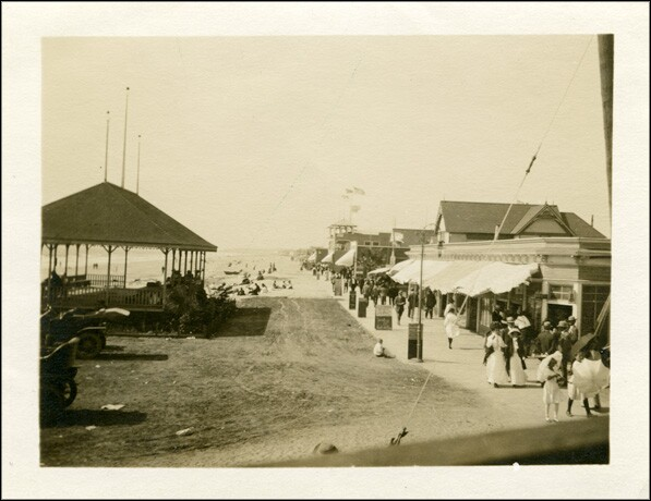 Beach scene (probably Newport Beach), circa 1910. From the Reverend Holcomb Collection.