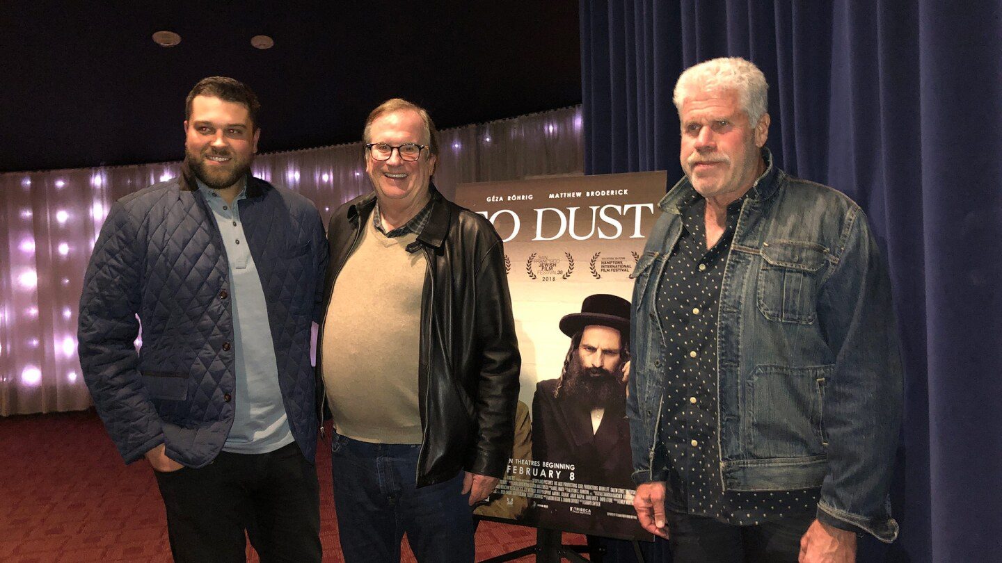 """Producer Josh Crook with Cinema Series host Pete Hammond and Actor/Producer Ron Perlman after a screening of """"To Dust"""""""