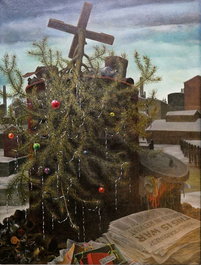 """Ruth Miller Kempster, """"Death of a Christmas Tree,"""" 1941, oil on canvas."""