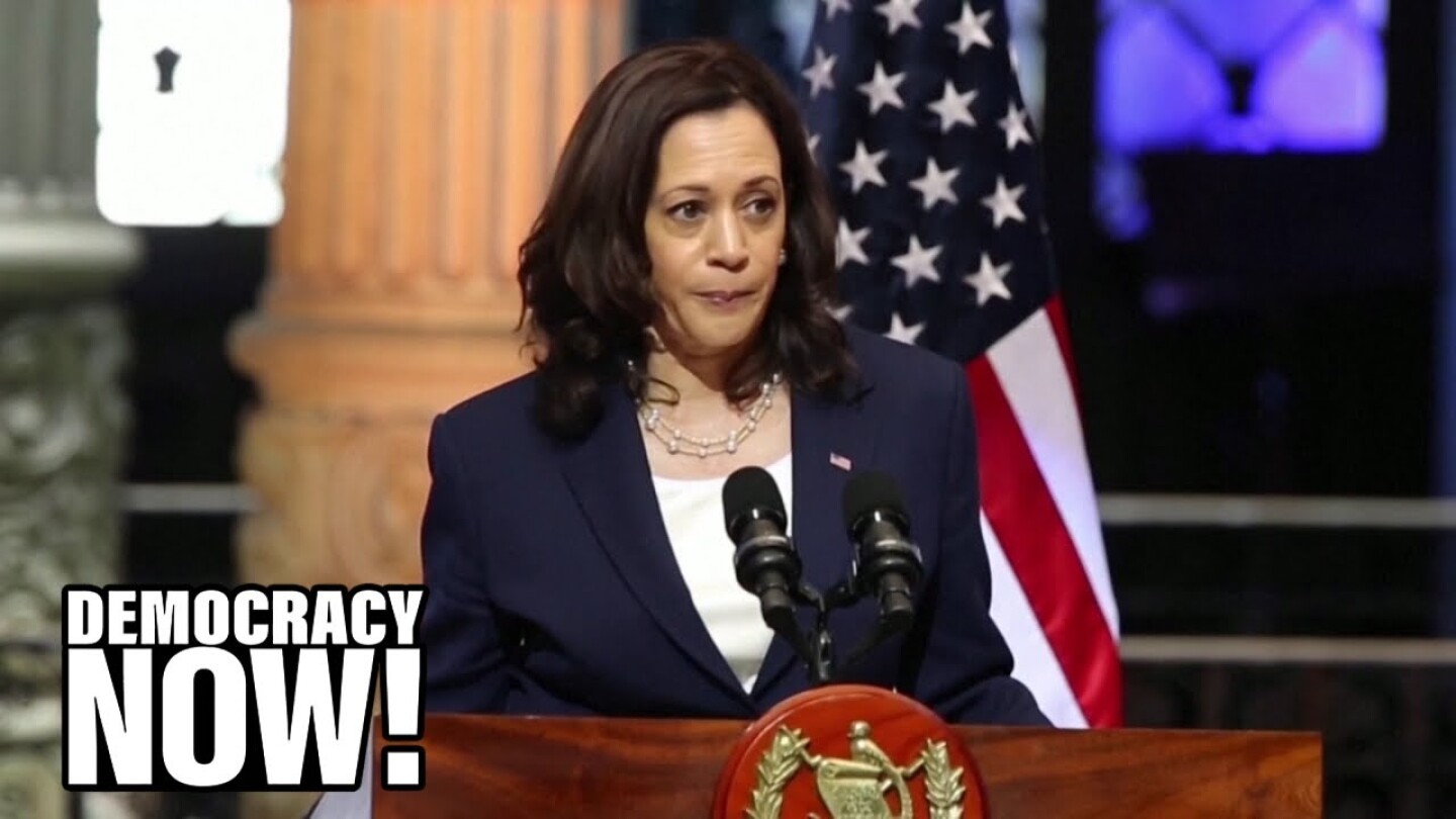 VP Kamala Harris makes a statement about asylum seekers in Mexico City.