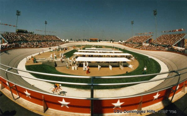 The CSU Dominguez Hills campus hosted the Olympic cycling velodrome. It was demolished in 2003 to make way for the Home Depot Center, a soccer stadium. Courtesy of the California State University Dominguez Hills Photograph Collection, CSUDH Archives.