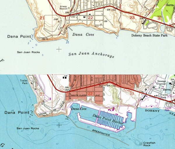 These two USGS topo maps from 1948 and 1975 show how the harbor's construction transformed the coastline.
