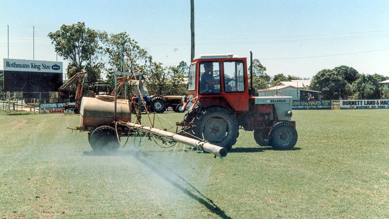 IN this 1987 photo, chlorpyrifos is sprayed on an Australian playing field to kill grubs | Photo: srv007