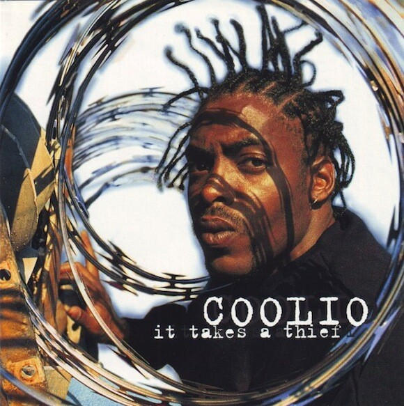 """Miller first met Coolio through rapper WC and Warner Bros. hired him to shoot the cover for Coolio's debut album. LP cover for Coolio's """"It Takes a Thief"""" (Warner Bros., 1994) 