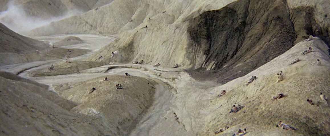 """The infamous orgy scene from Michelangelo Antonioni's 1970 counterculture classic, """"Zabriskie Point,"""" starring Mark Frechette, Daria Halprin and Rod Taylor, was shot at Death Valley's popular scenic overlook of the same name. Metro-Goldwyn-Mayer."""
