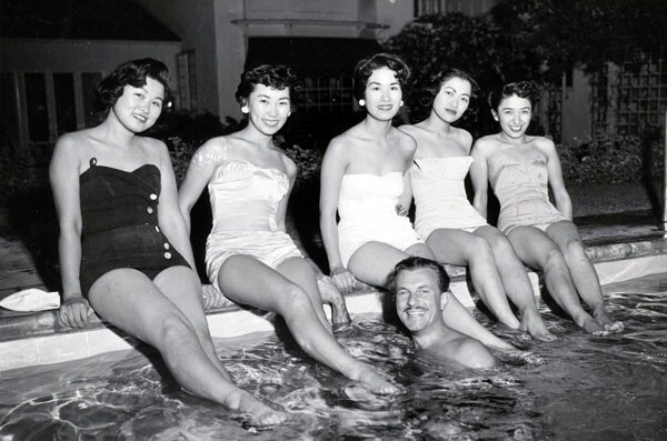 In its earlier days the selection process for the Nisei Week Queen involved small gatherings like a swim party, shown here with candidates from the 1953 campaign | Photo courtesy of Judy Sugita