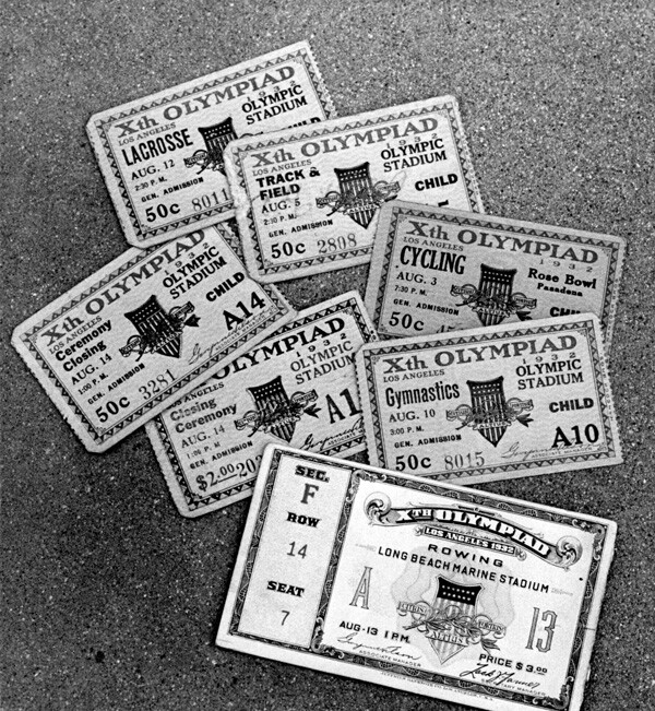 Tickets to various events held during the 1932 Olympics. Photograph by Harry Scheibel; courtesy of the Archives, Pasadena Museum of History (Pasadena Star-News Collection).