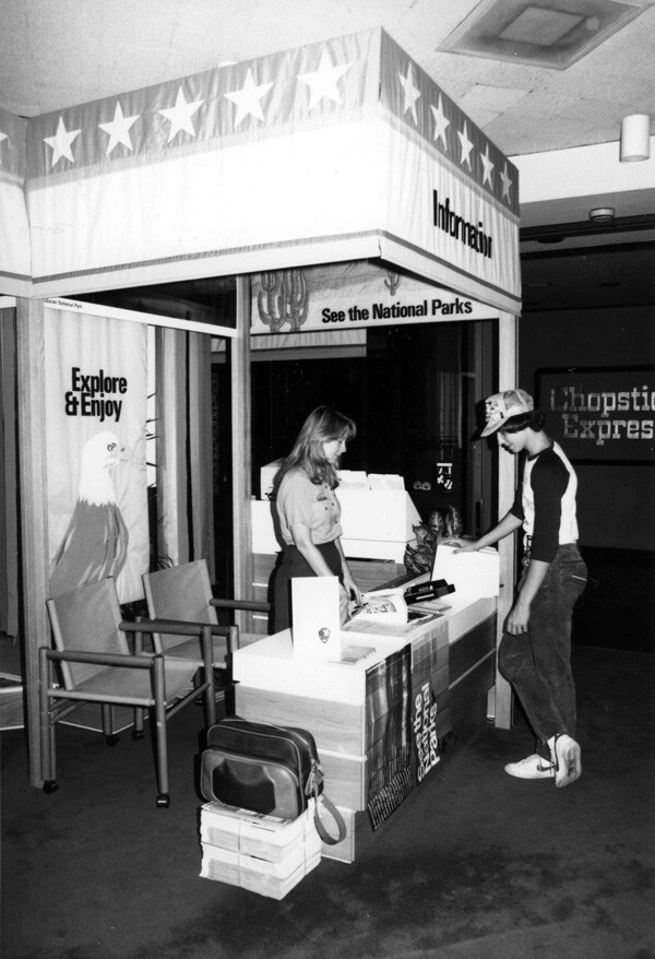 In 1984, the National Park Service staffed information booths at L.A.'s Olympic villages. Courtesy of the Santa Monica Mountains National Recreation Area archives, National Park Service.