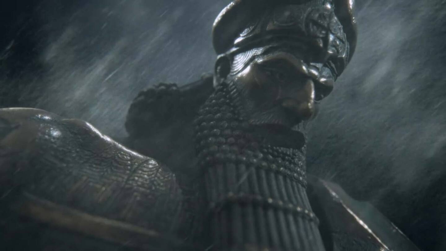 "A god statue in the rain | Still from ""Ancient Skies"""