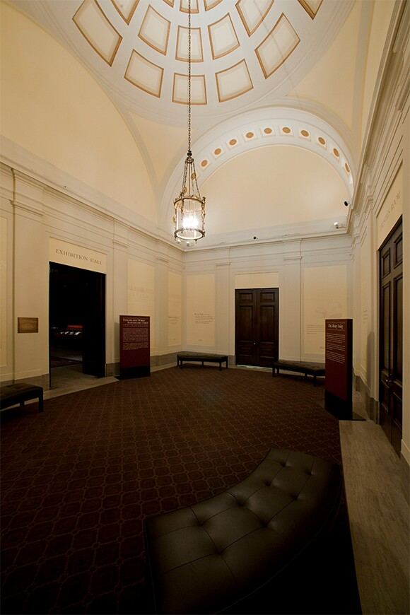 Foyer of the historic Library building at The Huntington Library, Art Collections, and Botanical Gardens, after renovation. Photo: The Huntington Library, Art Collections, and Botanical Gardens.