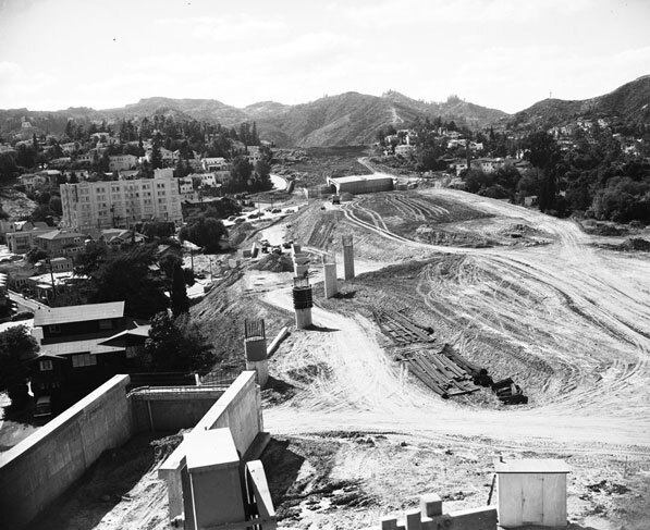 Hollywood Freeway under construction in Hollywood, 1953. Courtesy of the Los Angeles Examiner Collection, USC Libraries.