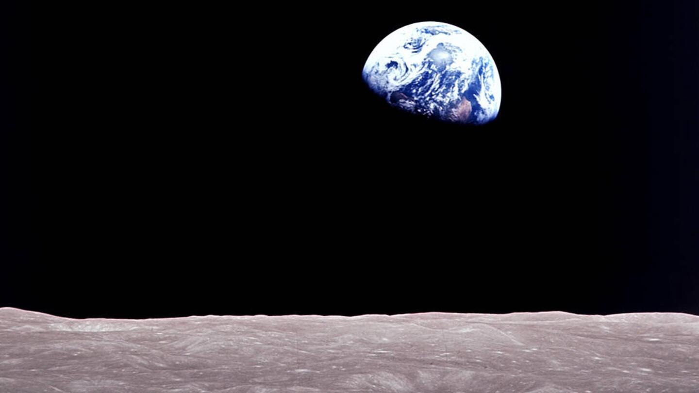 "The view of Earth from the surface of the moon. | From ""NOVA: Apollo's Daring Mission"""