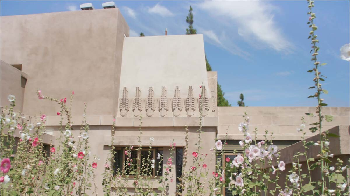 "Use of textile block in the Hollyhock House | Still from ""Artbound"" S9 E1: That Far Corner - Frank Lloyd Wright in Los Angeles"