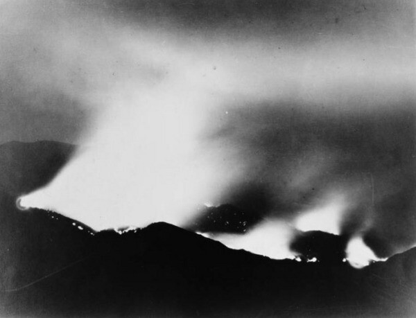 The San Gabriel Mountains on fire in 1924. Courtesy of the Title Insurance and Trust, and C.C. Pierce Photography Collection, USC Libraries.