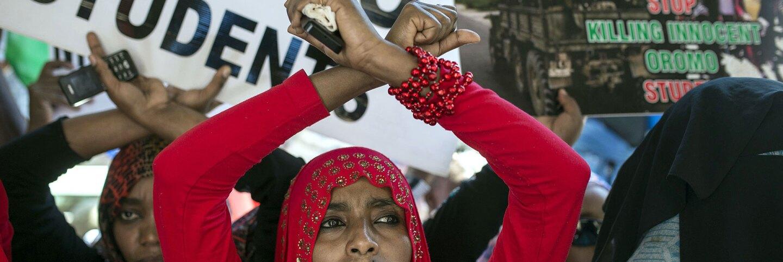 Ethiopian demonstrators protesting human rights violations in Oromia region.