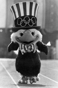 Sam the Eagle, mascot of the 1984 Los Angeles Olympics. Photo by Paul Chinn, photo from the Herald-Examiner Collection. Photo courtesy Los Angeles Public Library