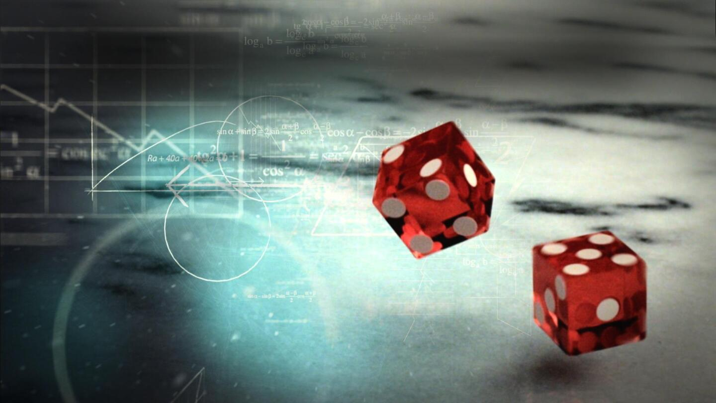 "A graphic of red dice being rolled with an overlay of mathematical equations. | ""NOVA: Prediction by the Numbers"""