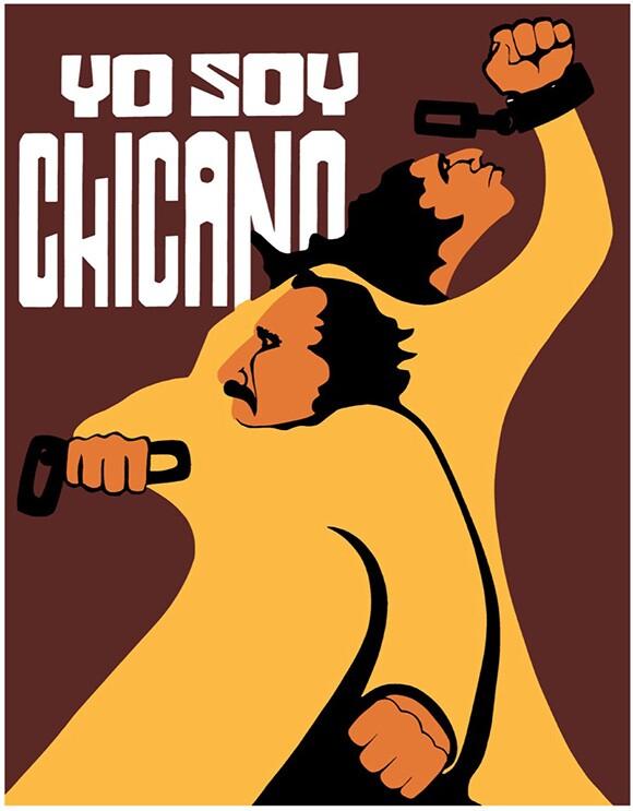 """Yo Soy Chicano"" by Malaquias Montoya, 2013. Screenprint. 30′′×22′′. Reprint by Jesus Barraza from the 1972 original.   Courtesy Of Malaquias Montoya."