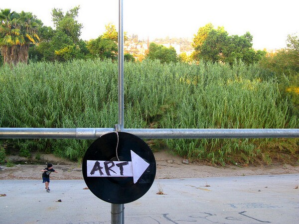 A sign from the Frogtown Art Walk on the L.A. River Bike Path