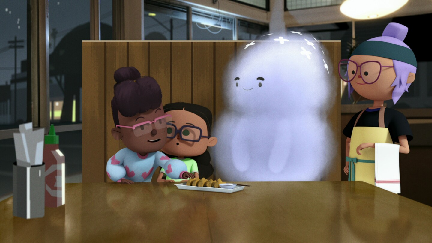 Animated characters in a restaurant sit with a ghost over a plate of dumplings.